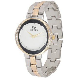 edd27acee Buy Ladies Watch Party Wear Casual Metal Watch Gold Silver and Gold  Bracelet Watch with Diamond Studded Online - Get 60% Off