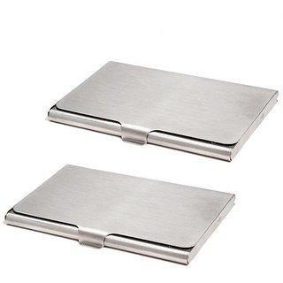 AV Enterprises 2 Silver Steel Card Holder