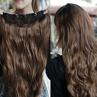 Brown long curl/curly/wavy Hair Extension Clip-on For Woman 24- 25 Wig