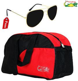 Elligator Black & Red Polyester Duffel Bag (No Wheels)