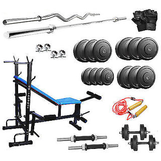 8 IN 1 GYM BENCH + 30 KG WEIGHT  + 5FT ROD + 3FT CURL ROD WITH ALL HOME GYM SET ACCESSORIES