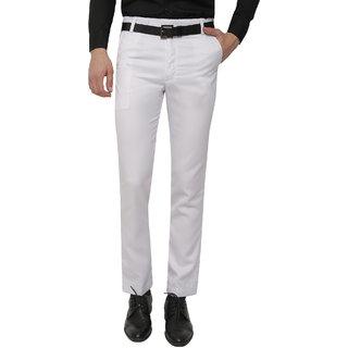 Gwalior White Slim Fit Formal Trouser For Men's