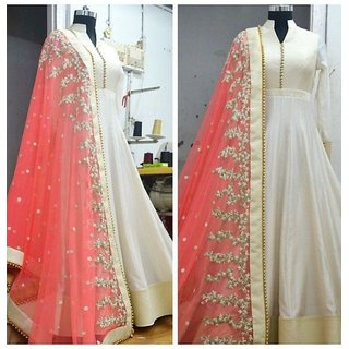 Style Amaze Designer Off White Color Banglori Anrkali Salwar Suit