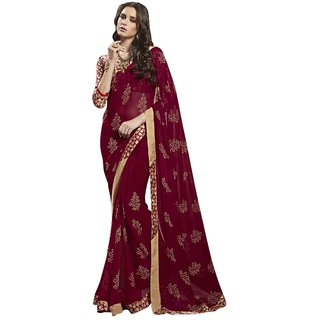 Aagaman Beautiful Red Colored Printed Faux Georgette Casual Wear Saree TSNSY31025