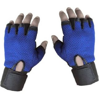 Tahiro Blue Leather  GYM Weigth Lifting Gloves - Pack OF 1