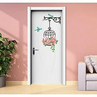 Jaamso Royals ' Top Cartoon Creative Bird Flowers Door Decor Rose ' Wall Sticker (PVC Vinyl, 60 cm X 45 cm, Decorative Stickers)