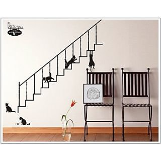 Jaamso Royals 'Black Cat Cafe Stairs Cartoon ' Wall Sticker (PVC Vinyl, 90 cm X 60 cm, Decorative Stickers)