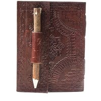 ININDIA Pure Genuine Real Vintage Leather Handmadepaper Notebook Diary  Brown Size of 6X4X5