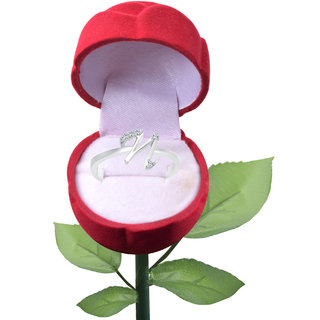 Vighnaharta Initial ''N'' Alphabet with Rose CZ  Rhodium Plated Alloy Finger Ring for Women and girls