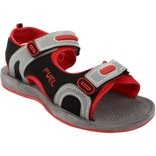 Fuel Mens Grey Red Velcro Floaters