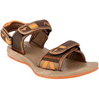 Fuel Mens Brown Orange Velcro Floaters