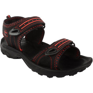 Fuel Mens Black Red Velcro Floaters