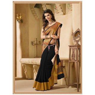 New Designer Saree Black Art Silk Animal Saree With Blouse