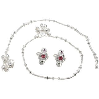 Ashika AOne Silver plated Thin string ghungroo Anklet  Red Toering Combo set for Women