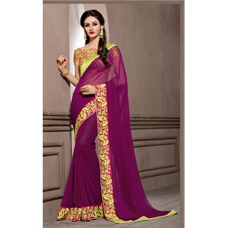 none Purple Georgette Embroidered Saree With Blouse