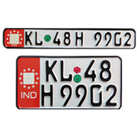 bike number plate germen font colour red