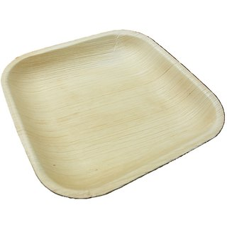 Ezee Eco Friendly Areca Leaf Square Plate 9 10 pcs