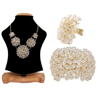 Jewels Gold Party Wear Latest Designer Antique Stylish Combo Withe Necklace Set  Bracelets With Ring For Women  Girls