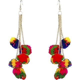 Jewels Gold Traditional Ethnic Simple Designer Latest Pom Pom Earrings Set For Women  Girls