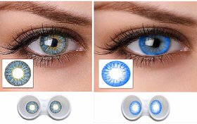 Magjons Combo Of Aqua And Blue Fashion Colour contact lens with Case  Solution '0' power