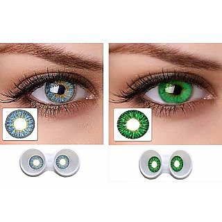 Magjons Combo Of Aqua And Green Fashion Colour contact lens with Case  Solution '0'