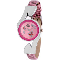 Fogg Fashion Store Round Dial Pink Leather Analog Watch For Women