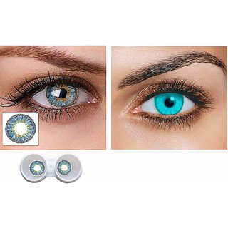 Magjons Combo Of Aqua And SKY Blue Fashion Colour contact lens with Case  Solution '0' power