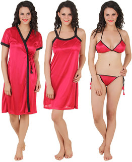 Fasense Solid Satin 4 PCs Set, Nighty, Robe, Bra  Thong DP100
