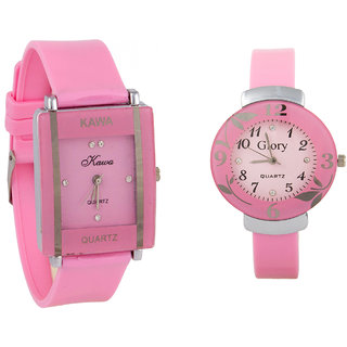 Combo Of Two Watches-Baby Pink Rectangular Dial Kawa And Baby Pink Circular Glory Watch