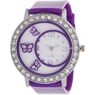 Branded Glory Purple Butterflay Diamond Fancy Letest Butterfly Print Collection Analog Watch - For Women