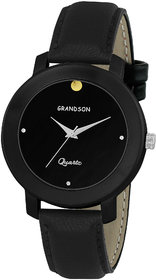 Grandson Black Leather Strap Casual Analog Watch For Bo