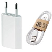 1 amp charging Adapter and micro usb data charging cable for smartphones (White)