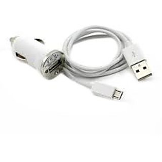 1 Amp Car Charger + Micro USB Data Charging Cable (White)