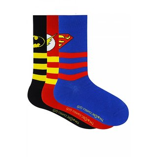 Justice League Kids Stripes with Character Logo Crew Socks -Pack of 3