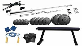 Protoner 22 Kgs PVC weight with Flat Bench home gym package
