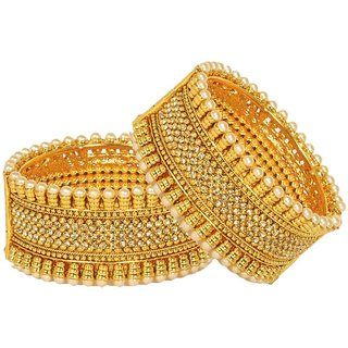Jewels Gold Alloy Party Wear  Wedding Latest Stylish Golden Bangles Set For Women  Girls (Pack Of 2)