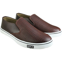 Howdy Brown Canvas Slip On Shoes For Men  Boys