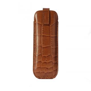 Mandava genuine leather croco printed brown mini mobile cover