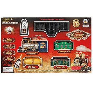 Classical Battery Operated Radio Control Smoke Train set (21 Pcs) for kids