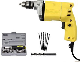 Powerful  10 MM Simple Drill Machine with 41 Pcs Screw Driver Set