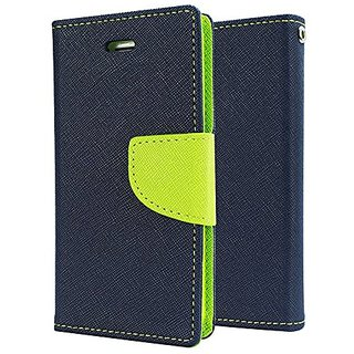 Mercury Magnetic Lock Diary Wallet Style Flip Cover Case for  Redmi Note 3 BLUE GREEN by Mobimon