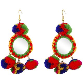 Penny Jewels Ethnic Gold Plated Colored Pom Pom Earrings Set For Women  Girls