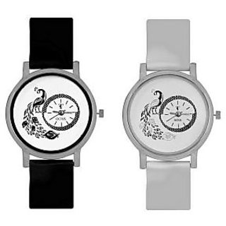 New Brand Octus Peacock Black And White Colour Round Dial Analog Watches Combo For Girls And Womens
