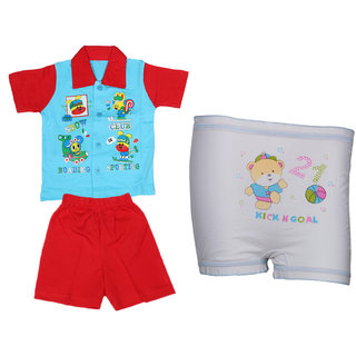 532fa8857bf Indiweaves Boys BABA Pack Of 1 Baba Suit And 1 BloomerPantyAssorted Color  And Prints available at