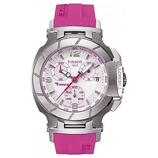 Tissot T-Race Swiss White Dial Pink Rubber Chronograph Techymeter