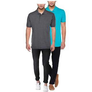 JAPROZ Men's Multicolor Polo Collar T-shirt Combo Pack of 2