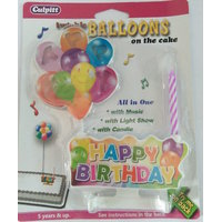 Funcar Candle with Happy birthday ballons light and music set
