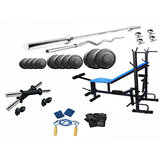 Protoner 20 Kgs PVC weight with 8 in 1 Bench home gym package