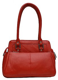 Genuine Leather Stylish Womens Hand Bag (Red)