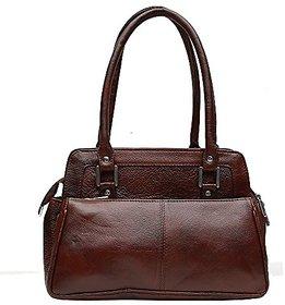 Genuine Leather Stylish Womens Hand Bag (Brown)